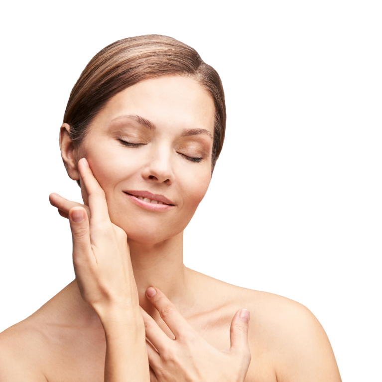 woman with smooth skin feeling her cheek