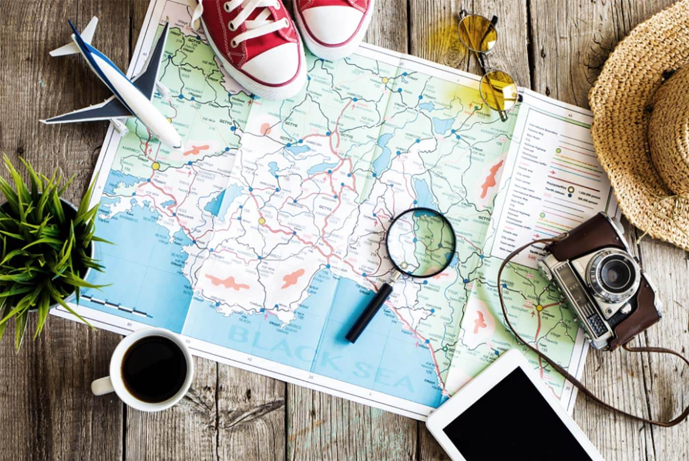 Map, and travel stuff for planning a trip